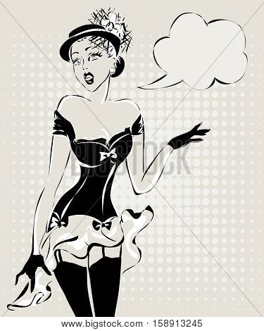 Sexy Pin Up Woman Talking, Black And White Vector Silhouette With Speech Bubble
