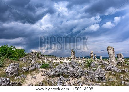 Stone Forest Beautiful view with the famous rock formation Stone Forest near Varna Bulgaria or Beaten Rocks - 'Pobiti kamani'