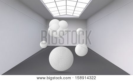 Hanging Abstract Polygonal Object. The White Room With The Subject In The Middle. Exhibition Space F