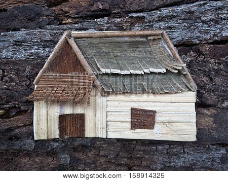 Collage art house realistic.Creative natural wooden craft