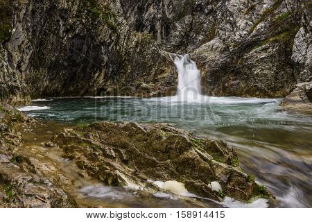 Blue 'Sini vir' waterfall at Medven near Kotel Bulgaria