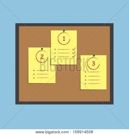 Bulletin board with blank paper notes. Flat design. Vector illustration.