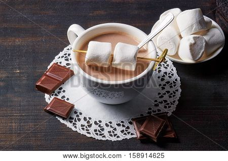 Cup Of Hot Cocoa Drink With Sweets