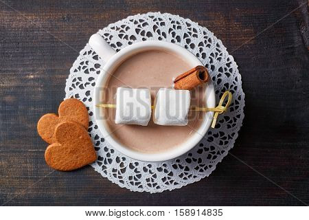 Cup Of Hot Cocoa Drink With Sweets From Above