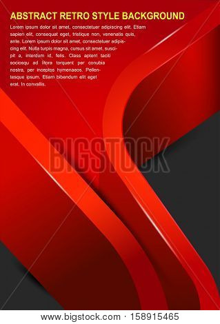 Abstract red brochure background with two 3D stripes and place for text
