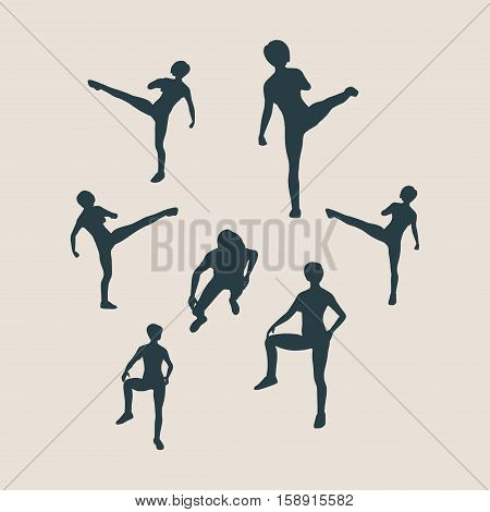 Martial arts active women self defense fighters silhouettes. Vector illustration. Sport fugures collection