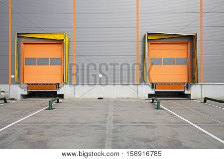 Two Cargo Doors at Warehouse Loading Bay