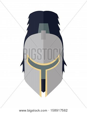 Steel knight s helmet in flat. Cartoon medieval helmet. Armor of knight. Steel medieval armor. Military medieval icon. Game object in flat design isolated on white background. Vector illustration