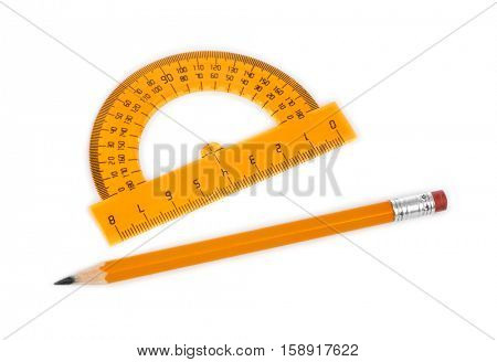 Protractor and pencil isolated on white background