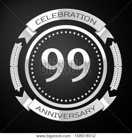 Ninety nine years anniversary celebration with silver ring and ribbon on black background. Vector illustration