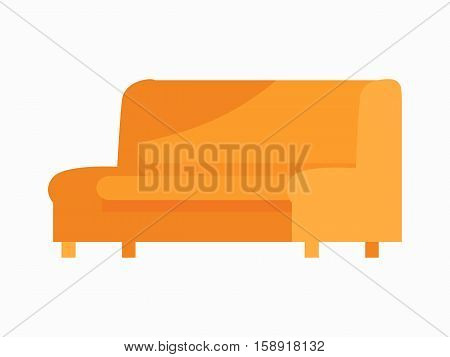 Luxury leather sofa. For modern room reception or lounge. Sofa in flat design. Living room house furniture. Detailed model illustration. Divan couch settee realistic objects. Vector illustration