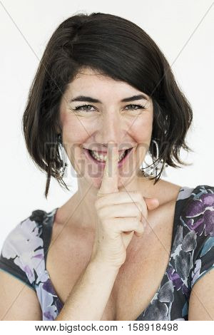 Woman Smiling Happiness Secret Shh Portrait Concept