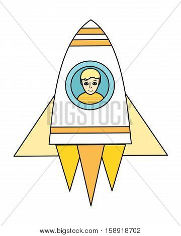 Spaceship with boy in round porthole in flat. Spacecraft icon. Rocket icon. Business design element. Design element, sign, symbol, icon in flat. Vector illustration.