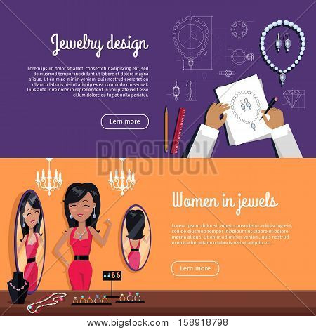 Jewelry banner set. Woman in red costume with jewelry in front of mirror. Diamond and jeweller on model, necklace and jewels, jewelry model, ring fashion jewelry, store jewelry shop illustration.