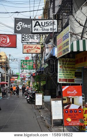 Multicolored Signs On The Street Of Beach Road