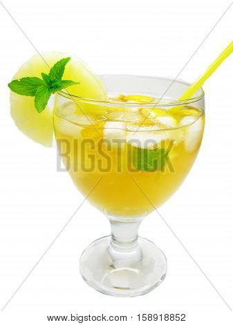 fruit cruchon cocktail punch in glass with ice and fruit