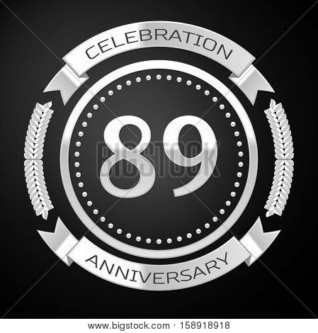 Eighty nine years anniversary celebration with silver ring and ribbon on black background. Vector illustration