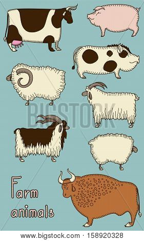Set of four isolated pairs vector cute animals: cow and bull, pig and boar, goat and nanny-goat, sheep and ram