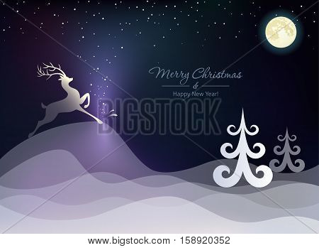 Christmas winter landscape with a deer on the hills. Vector illustration