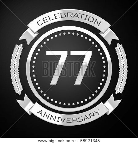 Seventy seven years anniversary celebration with silver ring and ribbon on black background. Vector illustration