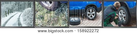 Workflow tire change as a panorama image. Summer tires dismantle winter tires mount. Image divided into 4 working steps.