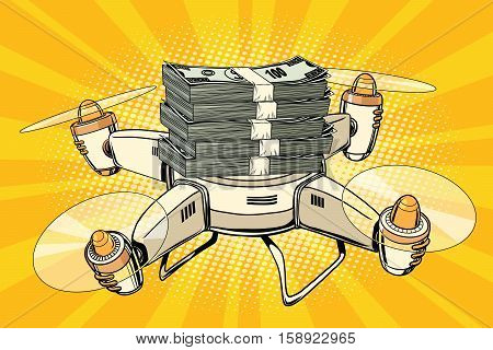 Drone copter with bundles of money, pop art retro comic book illustration. Business and Finance