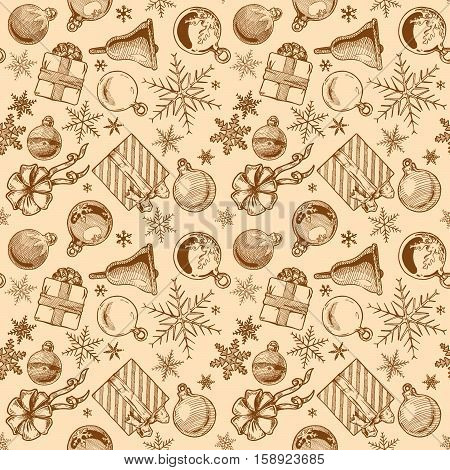 Hand drawn vintage seamless pattern with Christmas elements. Xmas and winter holidays. Vector illustration in ink hand drawn style.