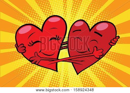 Eternal love red hearts Valentines, pop art retro comic book illustration. Love couple male and female character