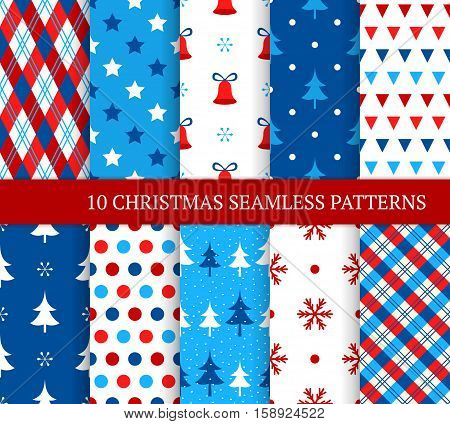 Ten Christmas different seamless patterns. Xmas endless texture for wallpaper web page background wrapping paper and etc. Retro style. Bells snowflakes christmas trees and etc
