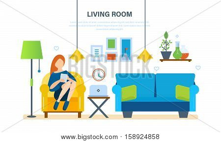 Interior of the room, furniture for relaxing, quiet atmosphere and comfort. Girl at home, resting and working with the tablet in the living room. Vector illustration.