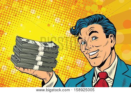 Financial success businessman with money, pop art retro comic book illustration. Lottery and cash prize