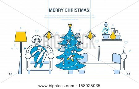 Christmas room interior. New Year festive atmosphere. The interior of the room, woman at home near a Christmas tree, recreation in the living room. Illustration thin line design of vector doodles