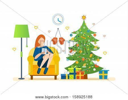 Christmas room interior. New Year festive atmosphere. Interior of the room, woman at home near a Christmas tree, recreation and working with the tablet in the living room. Vector illustration.