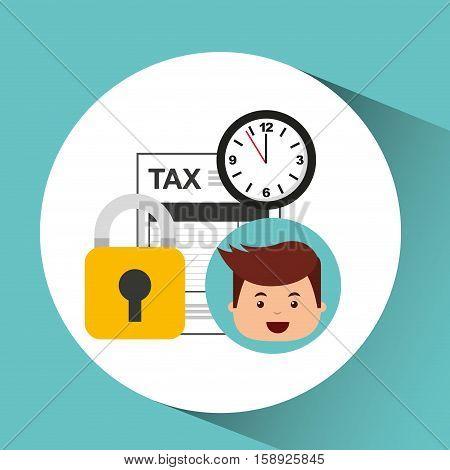 business man secure money tax clock vector illustration eps 10