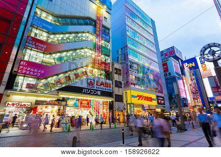 Tokyo Akihabara Evening Electronics Shops Angled H