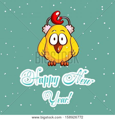 Greeting card with funny cartoon chick in earmuffs on snowy background. Vector illustration