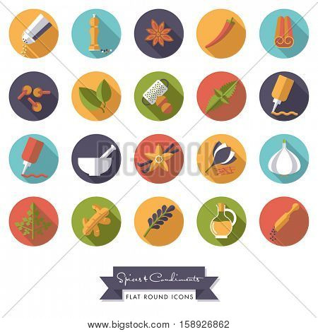 Spices and Condiments Flat Design Long shadow Round Icon Set. Collection of spices, condiments, herbs and seasoning flat design long shadow round icons