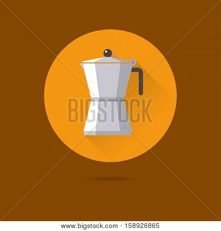 Moka coffee pot flat design long shadow vector icon