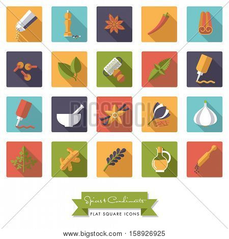 Spices and Condiments Flat Design Long shadow Square Icon Set. Collection of spices, condiments, herbs and seasoning flat design long shadow square icons