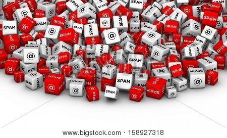 SPAM. E-mail spamming 3D illustration. A lot of cubes with spam word and email symbol.