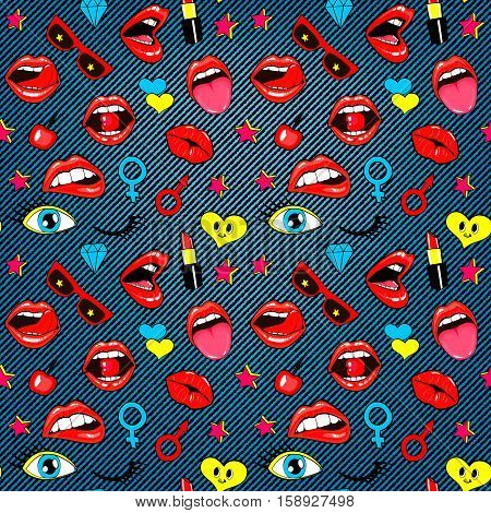 Fashion patch badges seamless pattern. Lips, kissing, open mouth, hearts, tongue, stars. Vector illustration isolated over denim background. Stickers, pins, patches set in cartoon 80s-90s comic style.