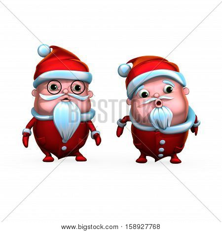Cute playful Santa Clauses, isolated on white background (3D rendering)