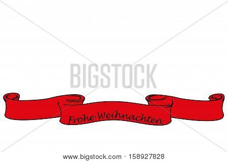 Red banner with the german words for Merry Christmas, christmas card