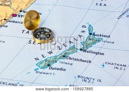 New Zeland map and compass - travel background