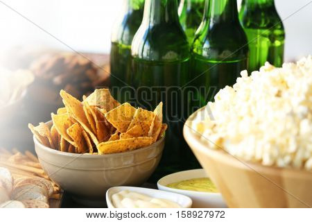 Tasty snacks and beer for football party