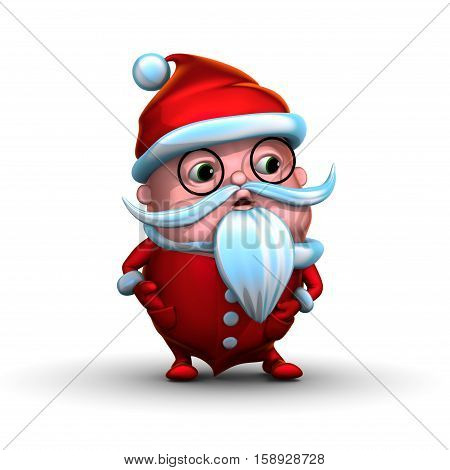 Cute playful little Santa Clause, isolated on white background (3D rendering)