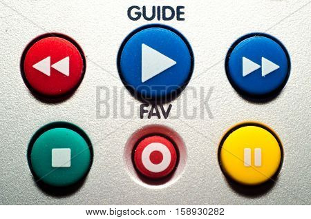 Close Up Tv Remote Colorful Buttons.