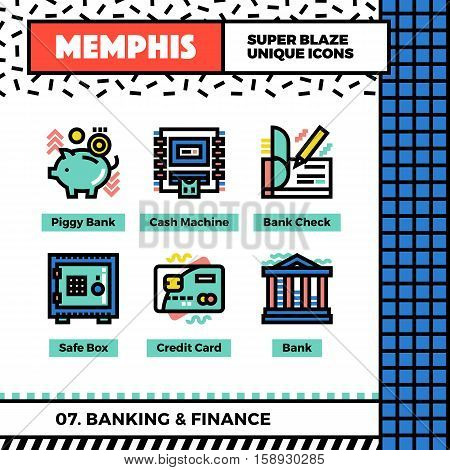 Banking_and_finances_neo_memphis_icons_set_vector_collection