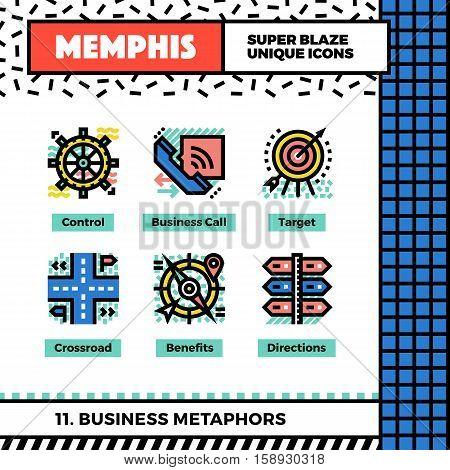 Business Metaphors Neo Memphis Icons.