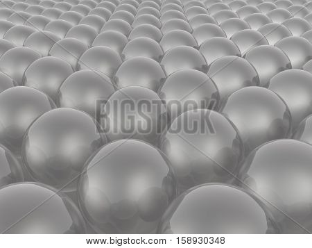 Grey spheres as abstract background 3D illustration.